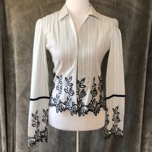 Hale Bob pin striped embroidered blouse